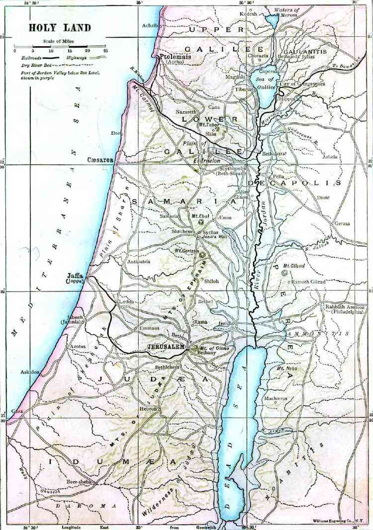 Bible map of the Holy Land - Israel